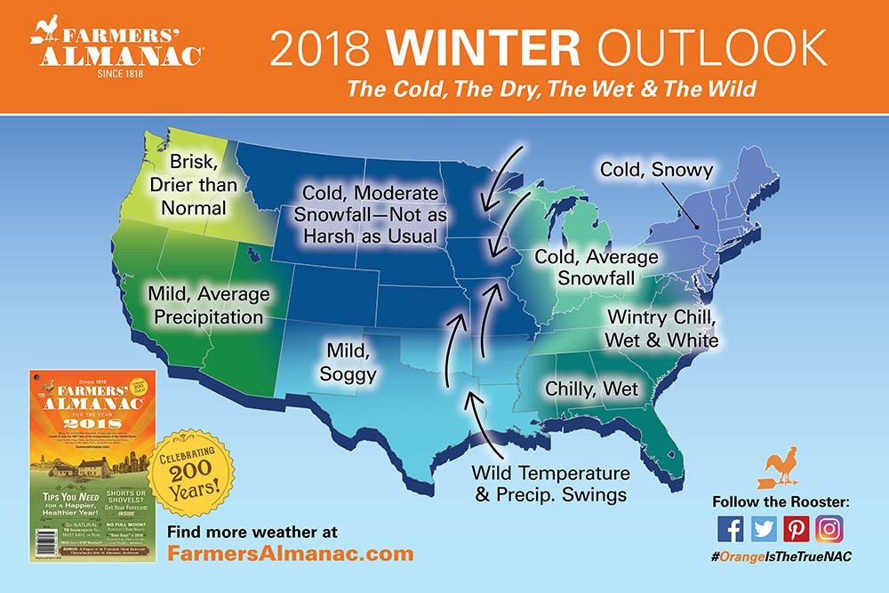 Farmers Almanac winter weather map