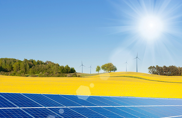 Solar panels and wind turbines in a yellow field with sun