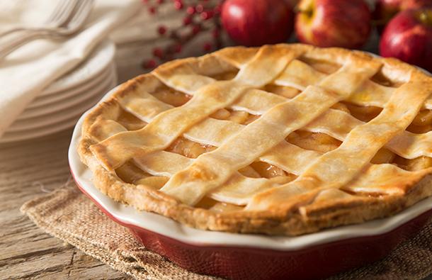 Apple pie on a kitchen table