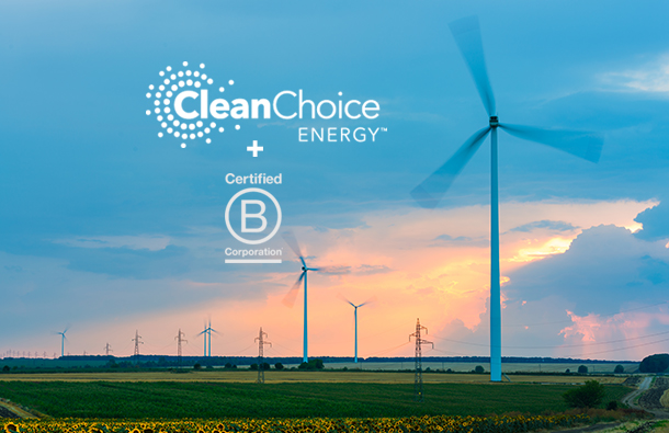 Sunset with wind turbines, CleanChoice logo, and Certified B Corporation logo.