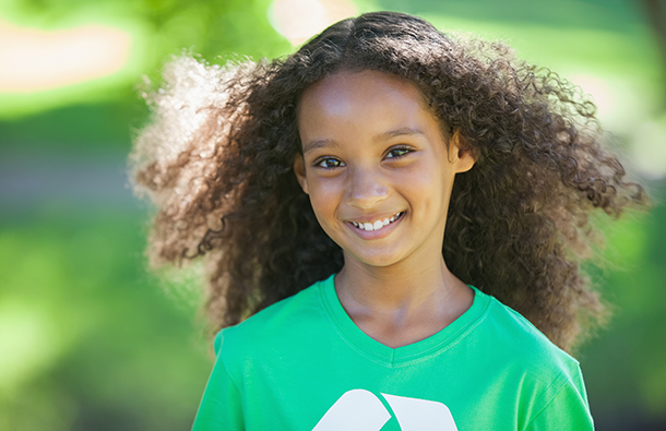 Young girl climate activist