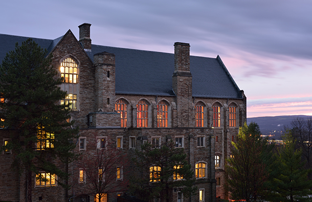 Ithaca New York at night showing Cornell University buildings