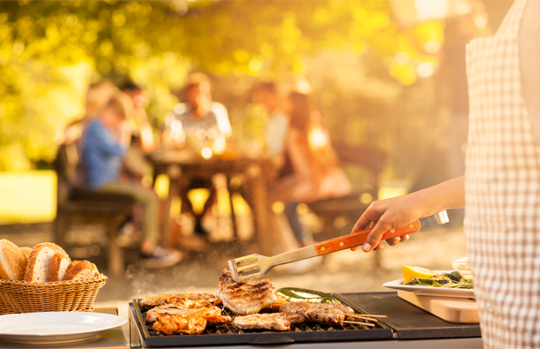 Family having a barbeque