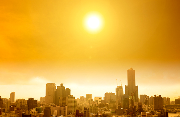 Hot and sunny city skyline during a summer heat wave